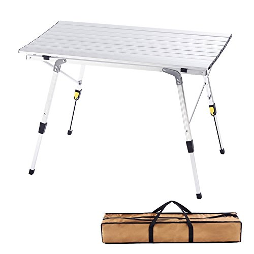- CampLand Aluminum Height Adjustable Folding Table Camping Outdoor Lightweight for Camping, Beach, Backyards, BBQ, Party and Picnic (A)