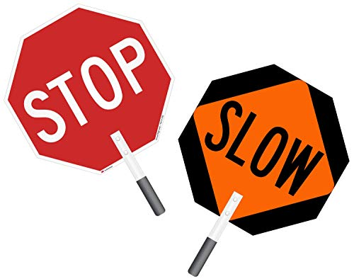 """""""Stop - Slow"""" Double Sided Paddle By SmartSign   18"""" 3M Engineer Grade Reflective Aluminum"""