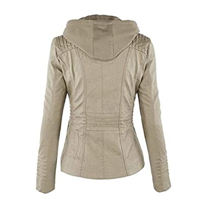 Lavnis Women's Faux Leather Jacket with Hood Casual Long Sleeve Moto Biker Zip Up Coat at Women's Coats Shop