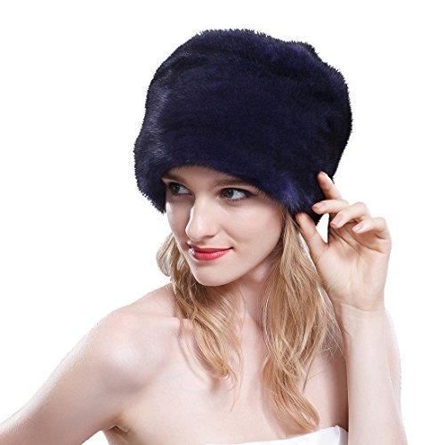 URSFUR Women's Velvet Mink Full Fur Bucket Hats (SAGA Velvet Purple) by URSFUR
