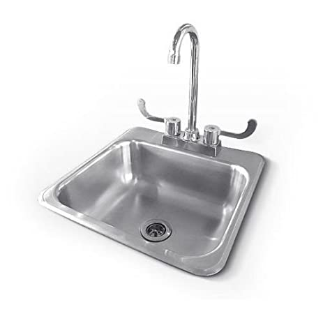 Outdoor Kitchen Stainless Steel Two Hole Sink and Faucet ...