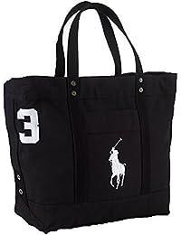 Polo Ralph Lauren Cotton Canvas Big Pony Zip Tote Bag (BLACK)