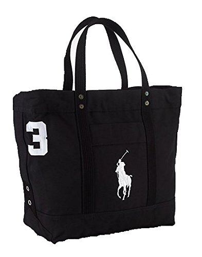 Polo Ralph Lauren Cotton Canvas Big Pony Zip Tote Bag (BLACK)