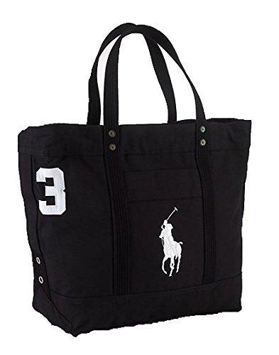 tton Canvas Big Pony Zip Tote Bag (BLACK) (Ralph Lauren Canvas Tote)