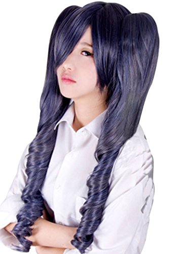 Anogol Black Butler Kuroshitsuji Ciel Phantomhive Cosplay Wig Grey Gray Women's Hair Wig with Cap (Wig with Ponytails)