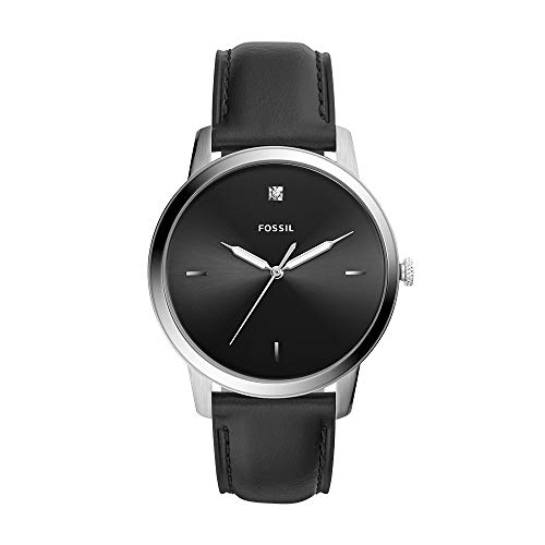 Fossil Men Minimalist Carbon Series Quartz Stainless Steel Diamond Accent Dress Watch, Color: Silver, Black (Model: ()