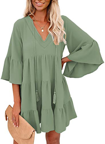 GOSOPIN Women Tunic Dress Crew Neck Ruffle Modal Shift Dresses X-Large Solid Green