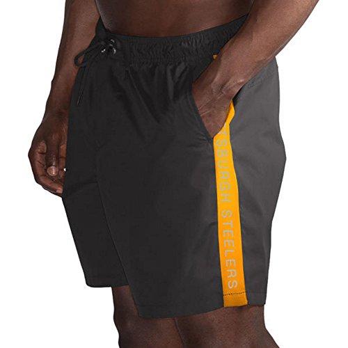G-III Sports Pittsburgh Steelers by Carl Banks Volley Swim Trunks - Black/Gold (Medium)