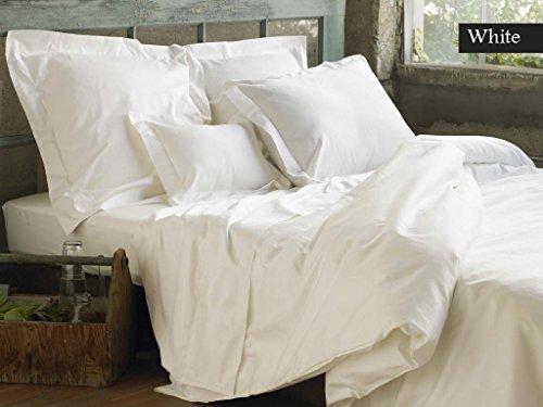 LINEN SOUQ Genuine Premium Egyptian cotton 600 Thread Count, Made In Italy - Italian Finish WHITE 3-Piece Duvet Set ( Duvet Cover & 2 Pillow Shams), Single Ply, Solid KING (Italian Cover Paisley Duvet)