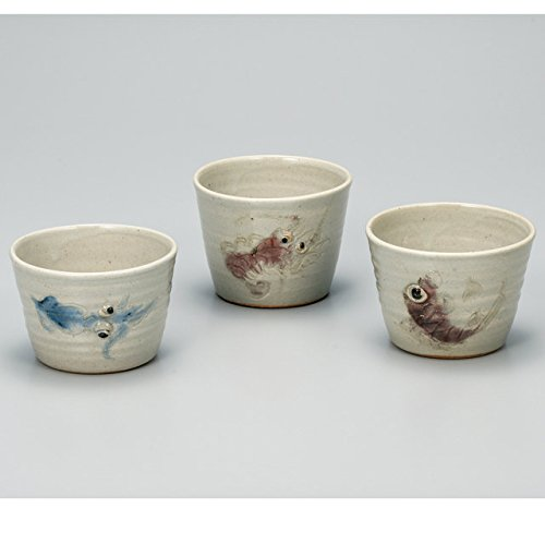 Japanese Ceramic Porcelain kutani ware. Soba choko, 3 small cup for Japanese Noodle Soba.'' Japanese ceramic Hagiyakiya 419 by Kutani