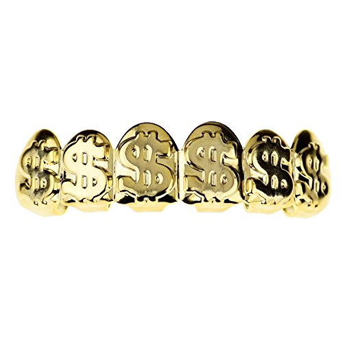 14k Gold Plated Grillz Dollar Signs $ Cash Money Upper Mouth Grill Top Hip Hop Teeth Grills (Best Barbecue Grills For The Money)