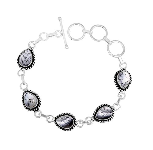 Genuine Oval Shape Dendrite Opal Link Bracelet 925 Silver Plated Handmade Vintage Bohemian Style Jewelry for Women