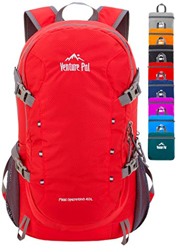 Venture Pal 40L Lightweight Packable Backpack with Wet Pocket - Durable Waterproof Travel Hiking Camping Outdoor Daypack for Women Men-Red
