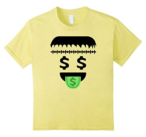 10 Dollar Costumes (Kids Frankenstein Halloween Emoji Costume Dollar Mouth T-Shirt 10 Lemon)