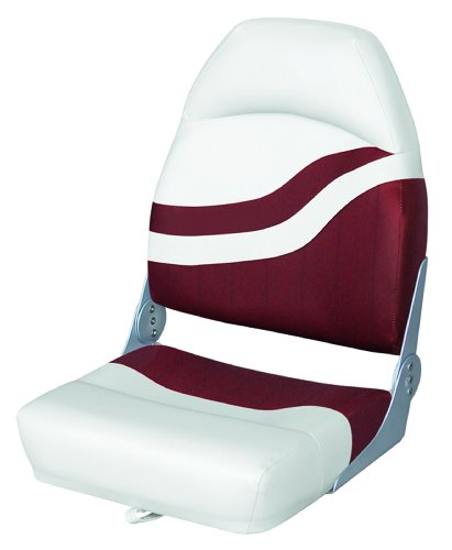 Wise High Back Boat Seat, White/Red