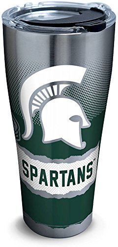 Tervis 1266059 Michigan State Spartans Knockout Stainless Steel Tumbler with Clear and Black Hammer Lid 30oz, Silver