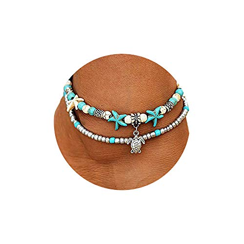 (FineMe Starfish Turtle Anklets Multiple Layered Boho Gold Chain Anklet Heart Beach Rhinestones Turquoise Stone Charm Anklet (A1: Turtle))