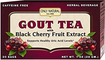 Cherry 1 Ounce - Only Natural Gout Tea - Black Cherry Fruit Extract - 20 Bags -Assist in maintaining healthy uric acid levels and over all well being, 1 OZ