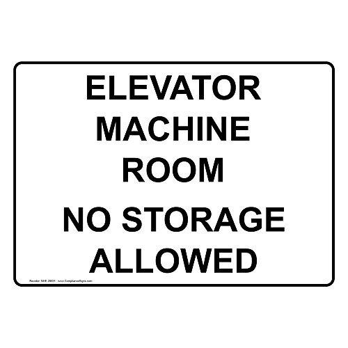 Elevator Machine Room No Storage Allowed White Metal Sign Aluminum Signs 10X14 Inch