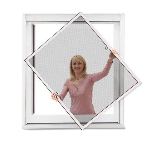 JAROLIFT Insektenschutz Spannrahmen für Fenster, Rahmengröße 100cm x 150cm weiss - ohne Bohren montierbar