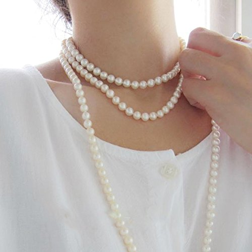 Libaraba Cream Simulated Pearl Strand Endless Necklace (8.5mm) 60