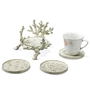Coral and Shell Coasters Set of 4 with Holder