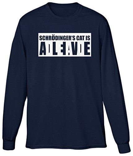 Blittzen Mens Long Sleeve T-shirt Schrodinger's Cat Alive Dead, M, Navy Blue (Cat Schroedingers)
