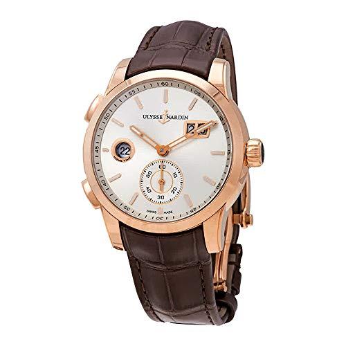 Ulysse Nardin Dual Time Silver Dial 18kt Rose Gold Men's Watch 3346-126-91 ()