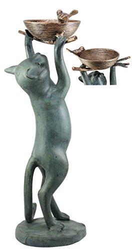 (Ebros Aluminum Sylvester Cat Reaching For Bird Nest Tweety Bird Feeder Or Bath For Garden Patio Statue)
