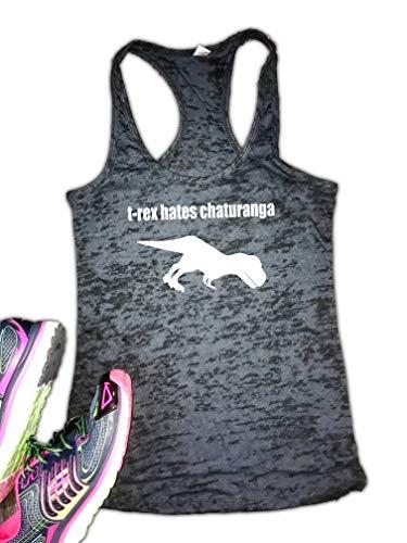 T-Rex Hates Chaturanga Yoga Burnout Racerback Tank Black