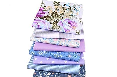 8 Telas florales lavanda para cojines, vestidos, costura, colchas, toallas, banderines, caravanas, guirnaldas, manualidades, patchwork, costura 40 x 50 cm ...