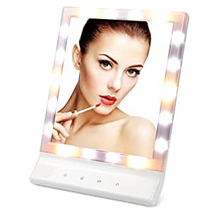 LED Lighted Makeup Mirror - YTE Vanity Mirror Led Cosmetic Mirror, Smart Touch Makeup Mirror with Light (18 LED) , Wall Mount Make Up Mirror