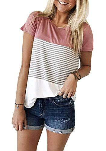 (Womens Summer Short Sleeve Striped Tunic Tops Junior Casual Color Block Tee-Shirt (Pink, XXL))