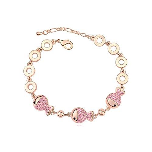 Beydodo Rose Gold Plating Bracelet For Women (Link-Bracelets),Austria Crystal Fish Red Rhinestone (Long Link Stampato Bracelet)