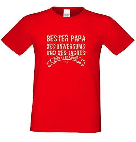 T-Shirt als Geschenk für den Vater - Bester Papa des Universums - Ein Danke für den Papa mit Humor zum Vatertag oder einfach so, Größe XXL Farbe 03-Rot