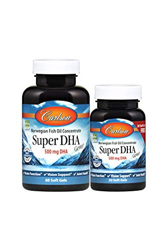 (Carlson - Super DHA Gems, 500 mg DHA, Norwegian Fish Oil Concentrate, Sustainably Sourced, 60+20 Soft)