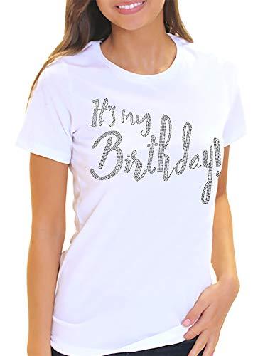 Its My Birthday! Women's Rhinestone T-Shirt - Birthday Shirts for Women - Small White Tee(It'sMyBday RS) Wht/Sml ()