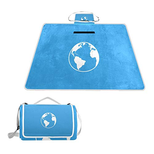 Frontgate Blue Blanket - White Earth in Blue Universe Picnic Blanket Outdoor Picnic Blanket Tote Water-Resistant Backing Handy Camping Beach Hiking Mat 57