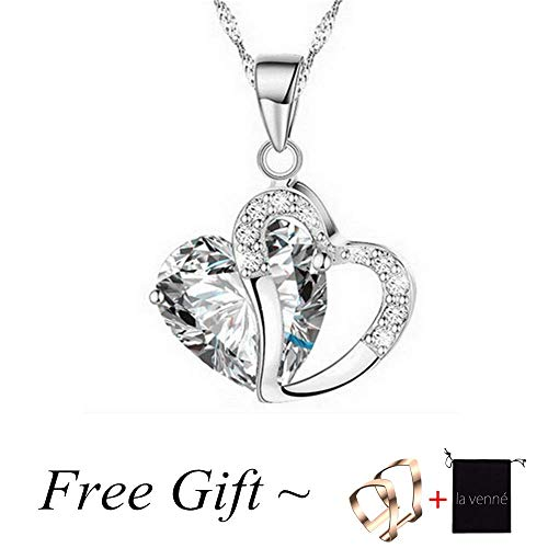 Clearance Deals Fashion Women Heart Crystal Rhinestone Silver Chain Pendant Necklace Jewelry by ZYooh (silver)