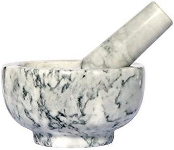 mortero y pilon de marmol blanco