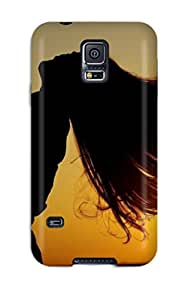 Snap-on Cool Sunset Photography Of Guy And Girl Hairs Flying With Air Case Cover Skin Compatible With Galaxy S5
