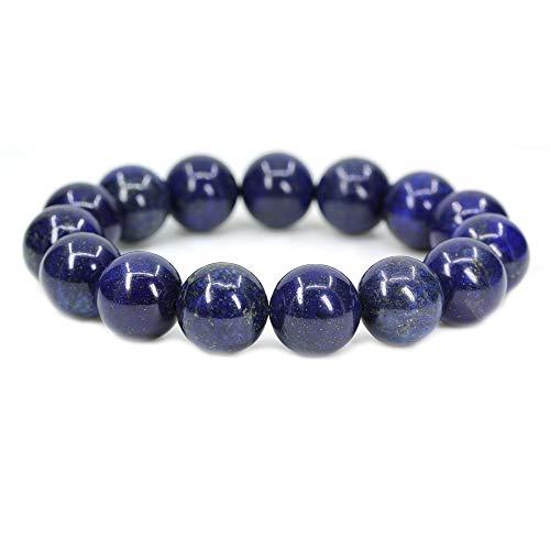 (Amandastone Natural Dyed Lapis Lazuli Gemstones Healing Power Elastic Stretch 14mm Beads Beaded Bracelet 7