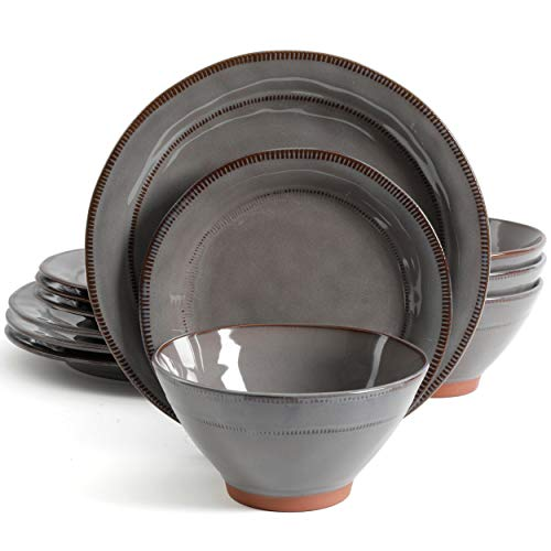 Gibson Elite Terranea 12 Piece Dinnerware Set, Grey