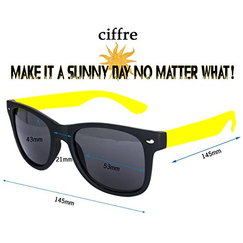 Gummiert Ciffre para mujer de sol Gelb Schwarz Gafas COq10Owxr
