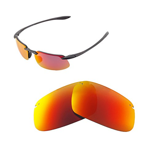 Walleva Replacement Lenses For Maui Jim Kanaha Sunglasses - Multiple Options available (Fire Red - - Sunglasses Kanaha