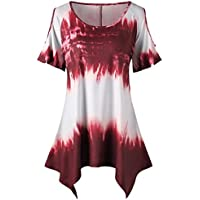 Women Girl T-shirt Plus Size Off Shoulder Short Sleeve Tie Dye Ombre Top Loose Blouse