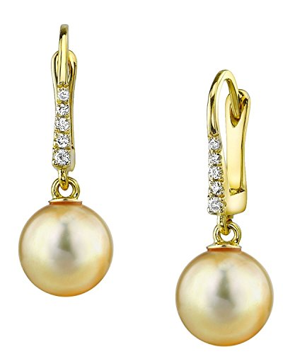 THE PEARL SOURCE 14K Gold 9-10mm Round Genuine Golden South Sea Cultured Pearl Susan Earrings for Women