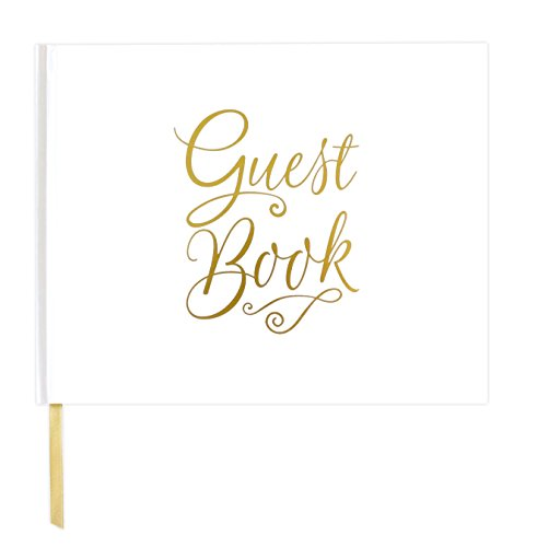 "bloom daily planners Wedding Guest Book (120 pages) Guest Sign-In Book Guest Registry Guestbook - White Cover with Gold Foil, Gilded Edges and Gold Page Marker Hardbound 7"" x 9"""