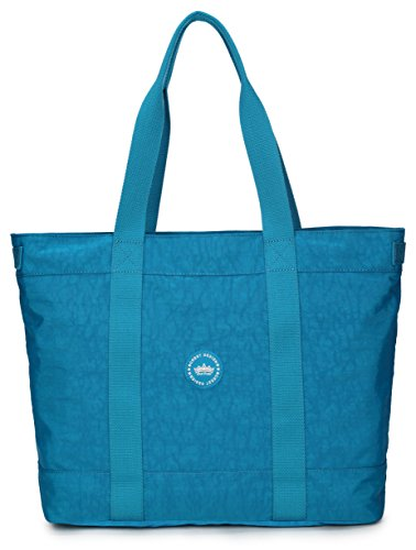 Crest Design Women handbag Tote Shoulder Bag for Laptops up to 17 inch (X-Large, Deep Sky Blue)