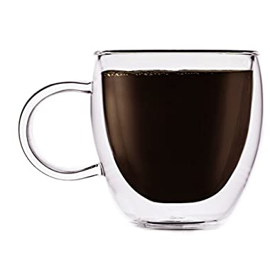 Brava Double-Wall Insulated Thermo Borosilicate Clear Glass Espresso Shot Cup, 2 Ounce -Set of 2